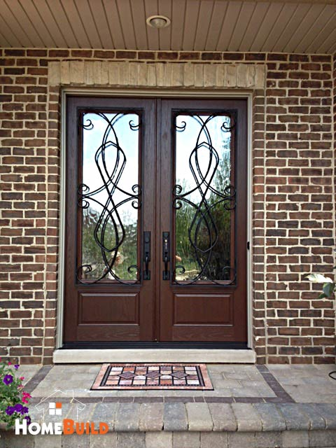 Pella French Entry Door With Custom Wrought Iron Trim On The